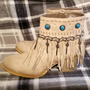 NWOT - Not Rated Fringe Turquoise Gem Booties
